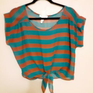 A'gaci Sm Teal Gold Striped Sheer Blouse